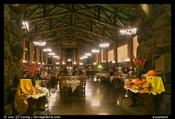 Dinning room at night, Ahwahnee hotel. Yosemite National Park (color)