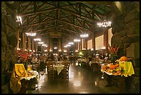 Dinning room at night, Ahwahnee hotel. Yosemite National Park, California, USA. (color)
