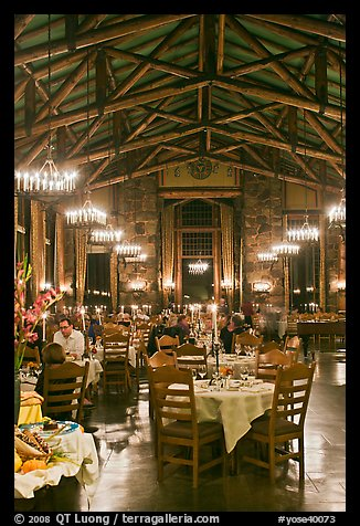 Dinning room at night, Ahwahnee lodge. Yosemite National Park, California, USA.