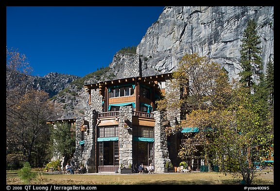 Ahwahnee lodge and cliffs. Yosemite National Park (color)