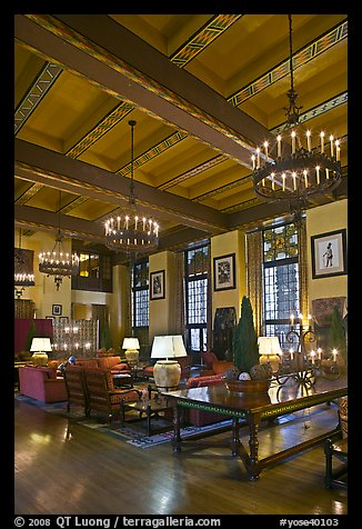 Lounge, Ahwahnee hotel. Yosemite National Park (color)