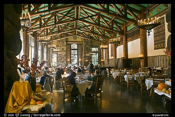 Dinning room, Ahwahnee lodge. Yosemite National Park (color)