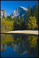 Half Dome reflected in Merced River in the fall. Yosemite National Park, California, USA.