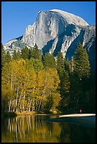 Banks of  Merced River with hiker below Half-Dome. Yosemite National Park ( color)
