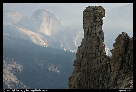 Rock tower and Half-Dome. Yosemite National Park, California, USA.