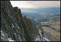 Cliffs on  North Face of Mount Hoffman with hiker standing on top. Yosemite National Park ( color)
