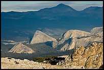 Distant view of Fairview and other domes, late afternoon. Yosemite National Park, California, USA. (color)