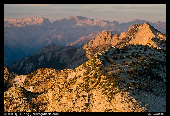 Sunset light over mountain ranges. Yosemite National Park (color)