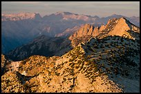 Sunset light over mountain ranges. Yosemite National Park, California, USA.