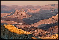 Cathedral Peak in the distance at sunset. Yosemite National Park, California, USA.