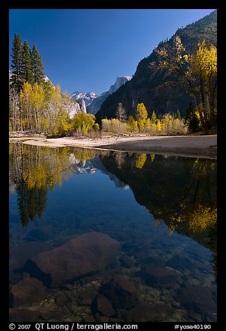 Rocks and Merced River reflections of trees and Half-DOme. Yosemite National Park, California, USA.