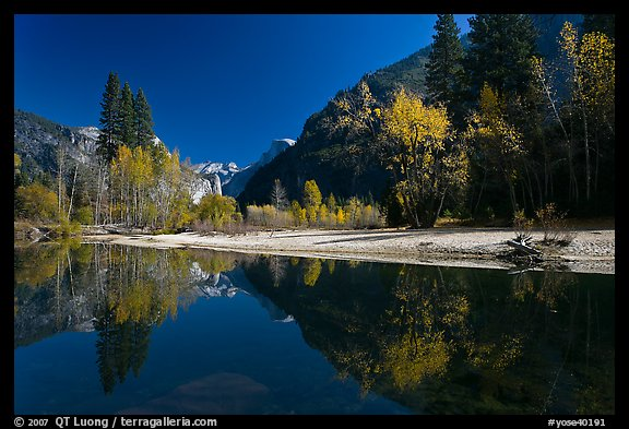 Banks of  Merced River with Half-Dome reflections in autumn. Yosemite National Park (color)