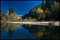 Banks of  Merced River with Half-Dome reflections in autumn. Yosemite National Park, California, USA.