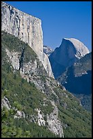 El Capitan and Half-Dome. Yosemite National Park, California, USA. (color)