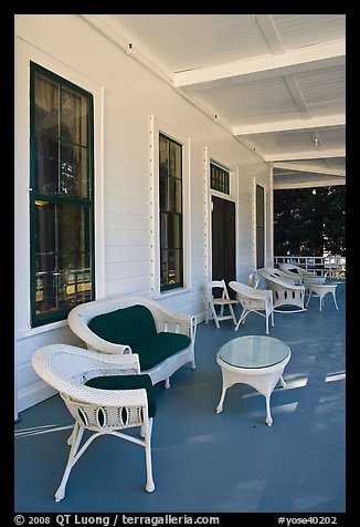 Chairs on porch, Wawona lodge. Yosemite National Park (color)