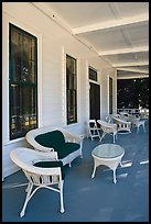 Chairs on porch, Wawona lodge. Yosemite National Park, California, USA. (color)
