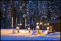 Crane Flat gas station with snow at dusk. Yosemite National Park, California, USA.