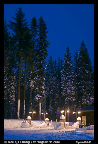 Well-lit gas station and snowy trees. Yosemite National Park (color)