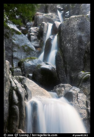 Cascading water in Chilnualna Falls. Yosemite National Park (color)