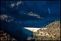 O'Shaughnessy Dam, Hetch Hetchy Reservoir, and Wapama falls. Yosemite National Park, California, USA.