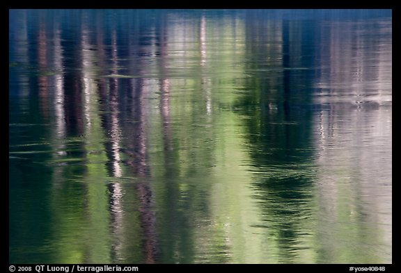 Spring reflections in Merced River. Yosemite National Park (color)