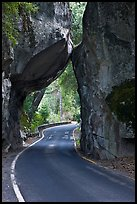Road passing through Arch Rock, Lower Merced Canyon. Yosemite National Park, California, USA. (color)