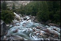 Lower Merced Canyon with wide Merced River. Yosemite National Park ( color)