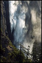 Bridalveil fall with water sprayed by wind gusts. Yosemite National Park, California, USA.