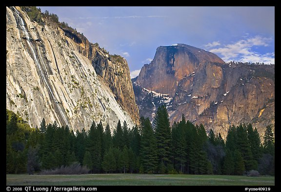 Seasonal waterfall on Royal Arches and Half-Dome. Yosemite National Park (color)