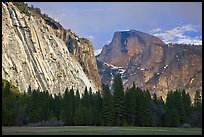 Seasonal waterfall on Royal Arches and Half-Dome. Yosemite National Park, California, USA. (color)