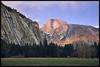 Seasonal waterfall and Half-Dome from Awhanhee Meadow. Yosemite National Park, California, USA.