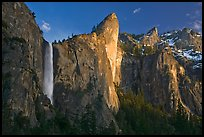 Bridalveil falls and Leaning Tower, sunset. Yosemite National Park, California, USA.