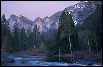 Merced River and Cathedral rocks at dusk. Yosemite National Park, California, USA.