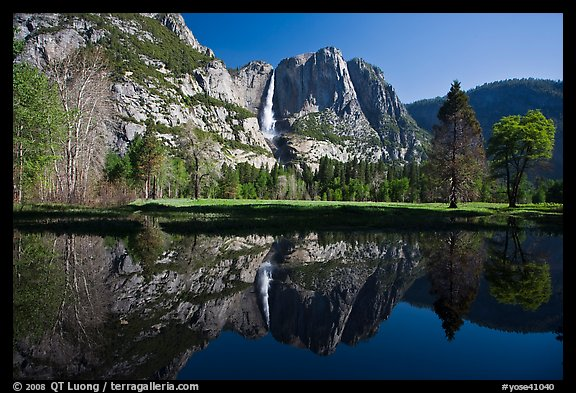 Yosemite Falls and meadow reflected in a seasonal pond. Yosemite National Park (color)