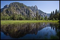 Sentinel Rock reflected in seasonal pond, Cook Meadow. Yosemite National Park ( color)