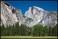 Half Dome and Washington Column from Ahwanhee Meadow in Spring. Yosemite National Park, California, USA. (color)