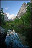 Mirror Lake and Ahwiyah Point in the Spring, late afternoon. Yosemite National Park, California, USA. (color)