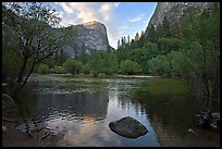 Mt Watkins at sunset, Mirror Lake. Yosemite National Park ( color)