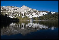 Tenaya Lake, with partly snow-covered peak reflected. Yosemite National Park ( color)