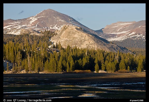 Lambert Dome and mountain, spring, Tuolumne Meadows. Yosemite National Park (color)