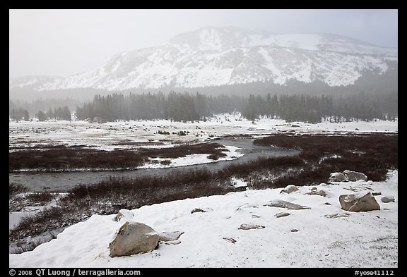 Snowy landscape near Tioga Pass. Yosemite National Park, California, USA.