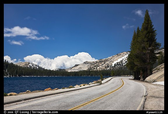 Highway hugging shore of Tenaya Lake. Yosemite National Park (color)