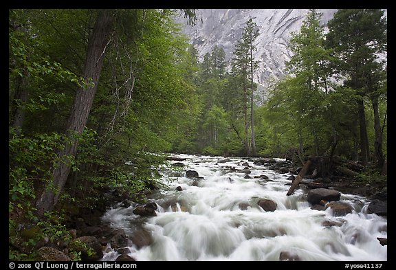 Merced River cascades, Happy Isles. Yosemite National Park, California, USA.