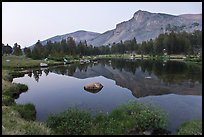 Mt Dana shoulder reflected in tarn at dusk. Yosemite National Park, California, USA.
