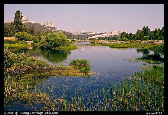 Tuolumne River and distant domes, early morning. Yosemite National Park, California, USA.