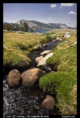 Boulders, stream, and lower Gaylor Lake. Yosemite National Park (color)