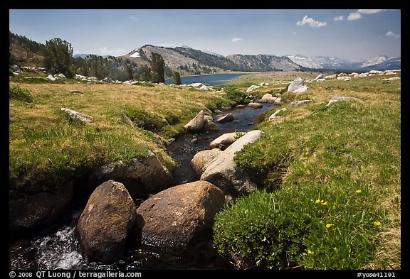 Alpine scenery with stream and distant Gaylor Lake. Yosemite National Park (color)