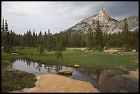Stream, meadow, and Cathedral Peak, afternoon. Yosemite National Park, California, USA. (color)