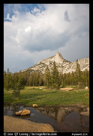 Meadow, Cathedral Peak, and clouds. Yosemite National Park (color)