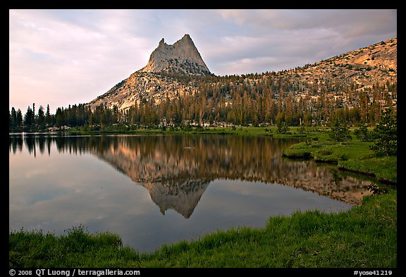 Cathedral Peak reflected in upper Cathedral Lake, late afternoon. Yosemite National Park (color)
